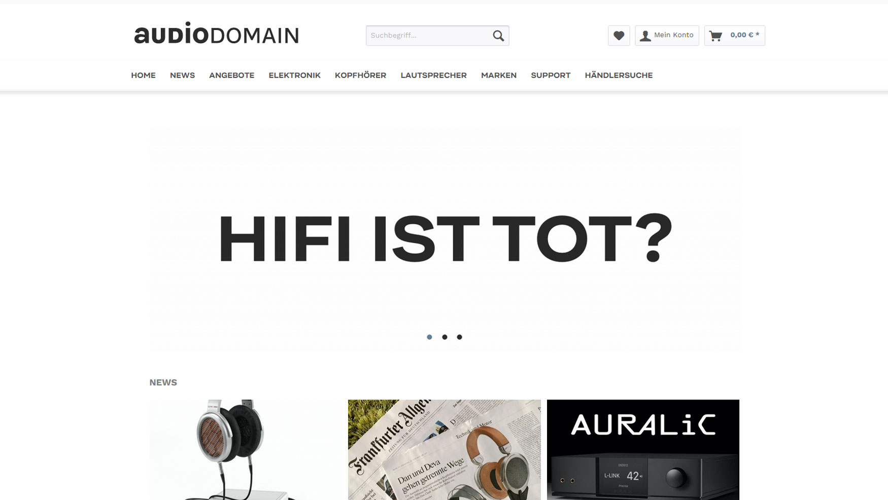 Neue audioDOMAIN-Seite (Screenshot von https://www.audiodomain.de/)